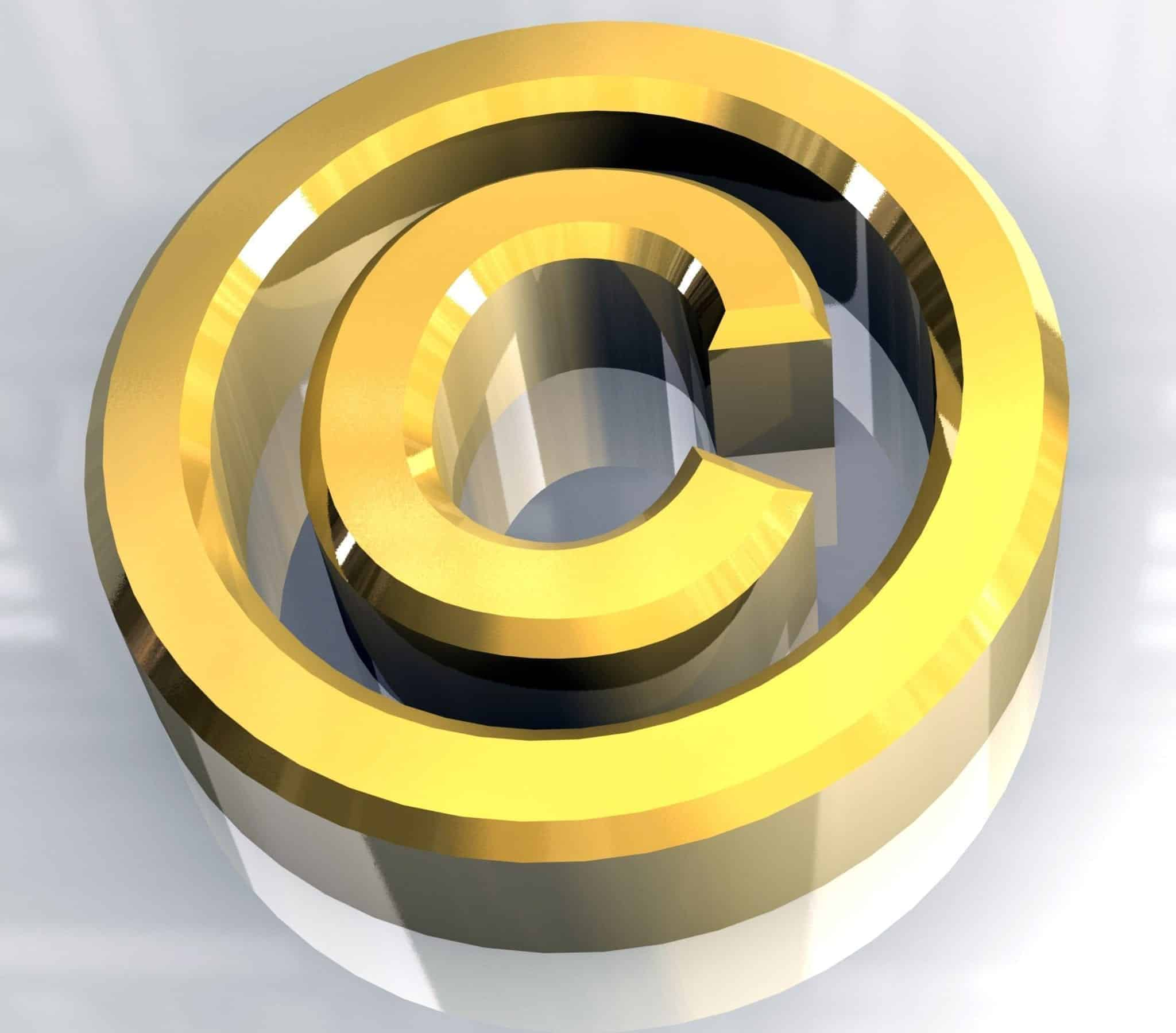 copyright symbol in gold (3d)
