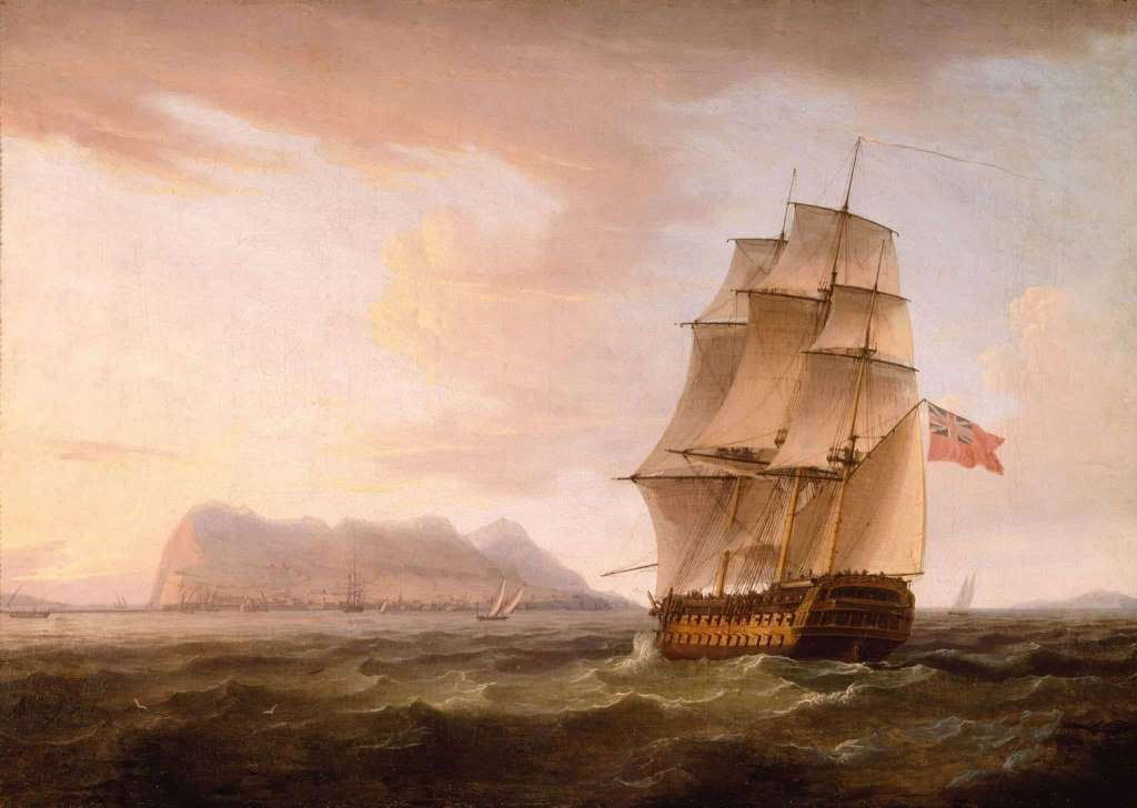A British Man of War before the Rock of Gibraltar by Thomas Whitcombe