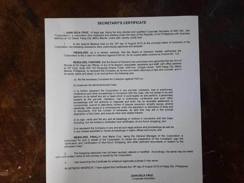 Secretarys Certificate Image Article Nicolas and de Vega Law